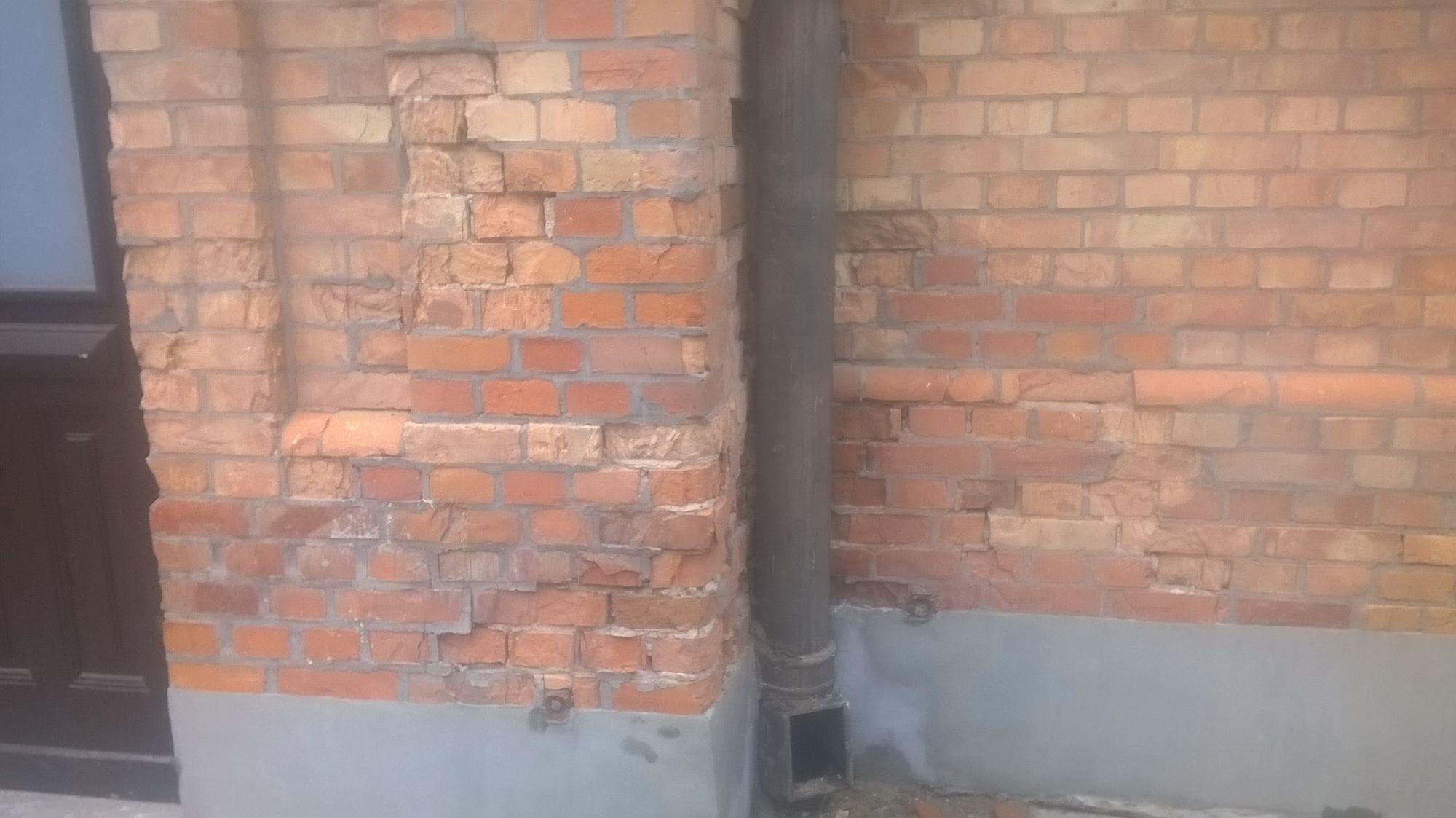 wymiana, odbudowa, murowanie, kształtki, renowacja, elewacja z cegły